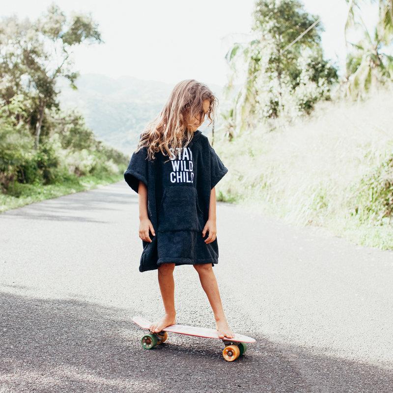 Beach & Bandits Poncho Surf Deluxe - Handdoek Kind Jongen Meisje - Strand Zwembad Zee Vakantie - Zwart