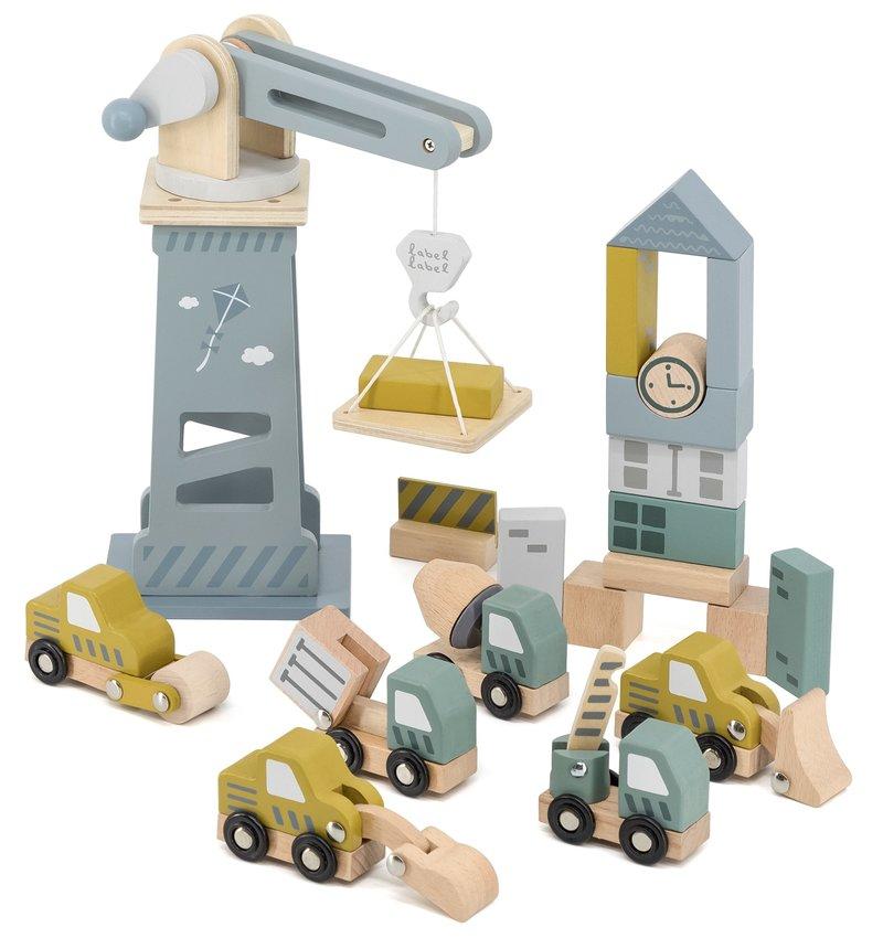 Label Label Houten Bouwplaats Speelgoed Set met Blokken Bouwvoertuigen - Verjaardag Cadeau Jongen Meisje - Blauw Geel