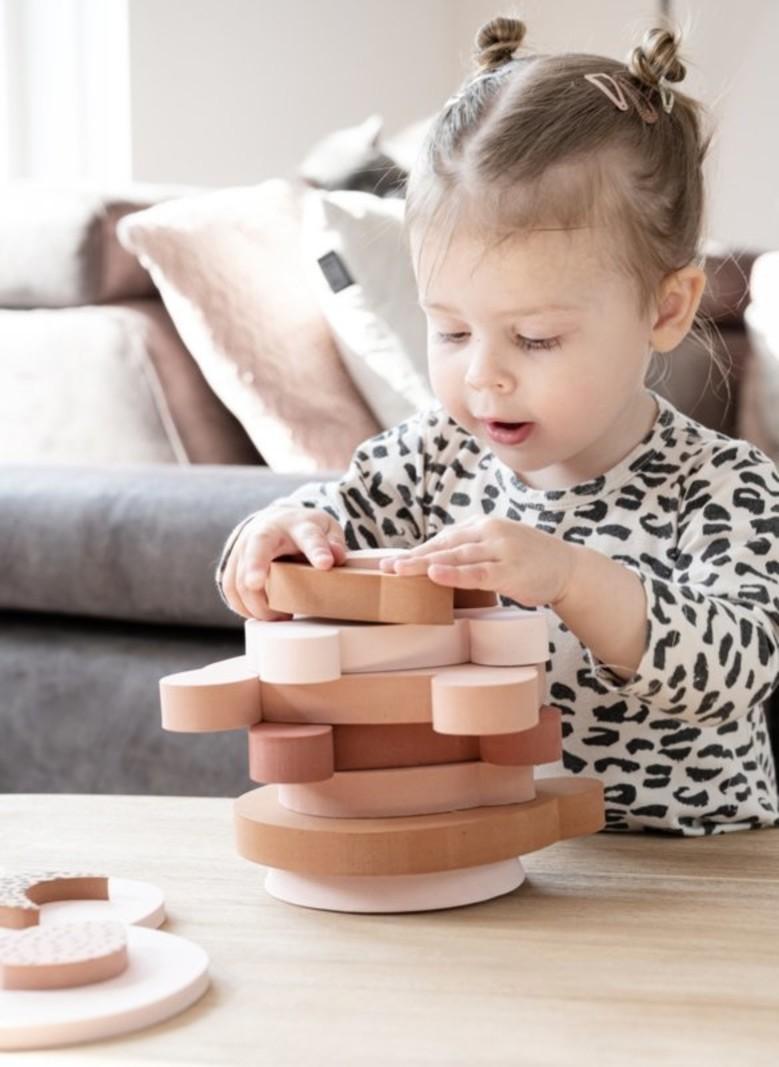 vanPauline Stapeltoren Speelgoed Beer - Meisje / Baby / Kind / Peuter- Roze Foam