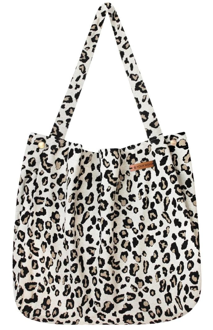 Your Wishes Mommy Tote Bag / Witte luiertas Luipaard Panter / Kinderwagen Luiertas /  Verzorgingstas Baby / Boodschappentas - Off White Leopard Jacquard