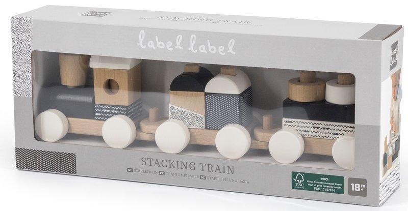 Label Label Houten Trein Speeltrein met Blokken Zwart met Wit - Kraamcadeau Eerste Verjaardag Jongen Meisje