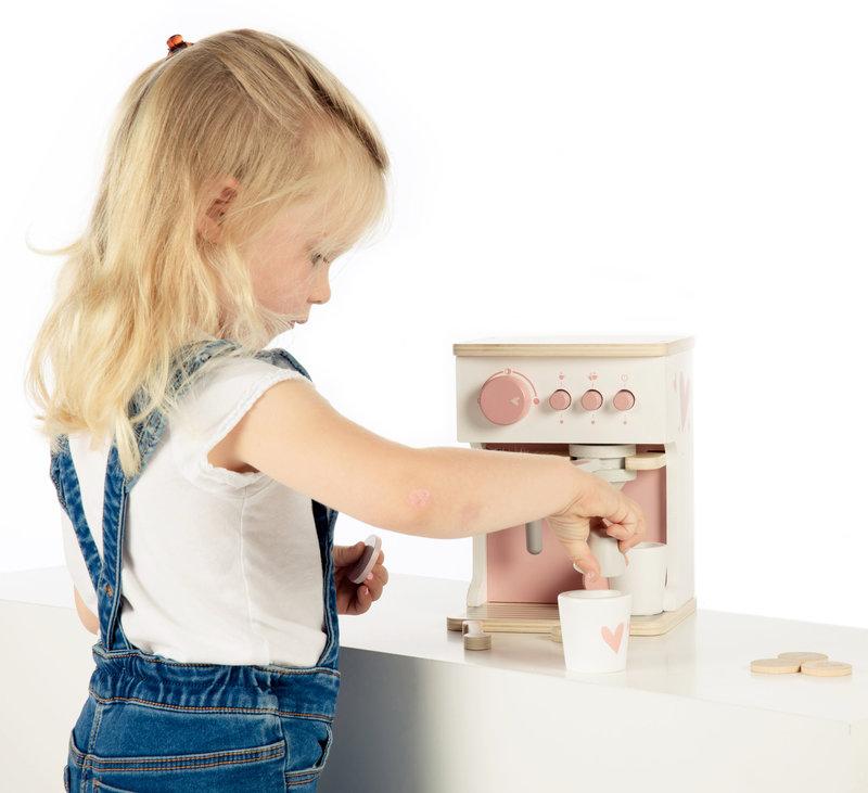 Label Label Houten Koffiezetapparaat Espresso Machine Speelgoed Set met Kopjes en Accessoires - Verjaardag Cadeau Meisje 3 4 5 6 jaar - Roze - 9-delig