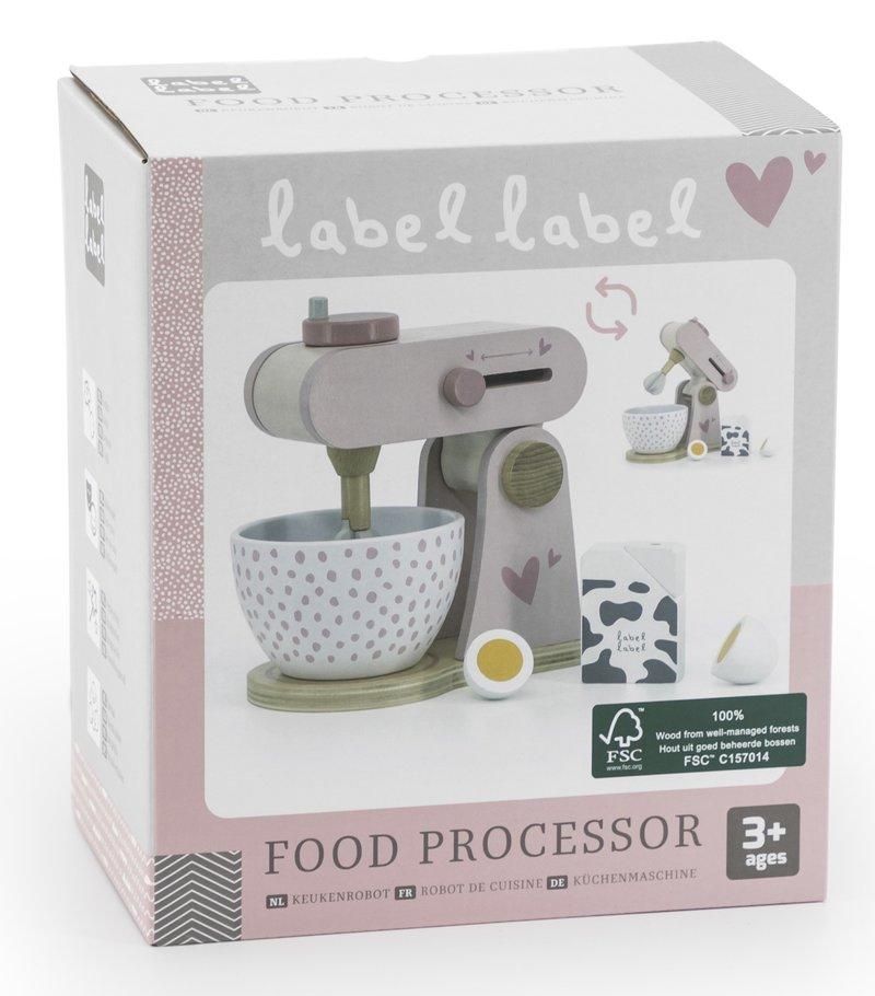 Label Label Houten Keukenmachine met Mixer en Accessoires Set - Verjaardag Cadeau Meisje 3 4 5 6 jaar - Roze - 4-delig