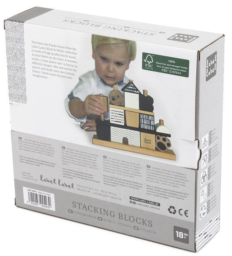 Label Label Houten Stapelblokken Stapeltoren Puzzel Speelgoed -Zwart met Wit - Baby Peuter- Kraamcadeau Eerste Verjaardag Jongen Meisje Uni