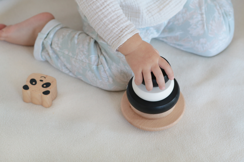 Label Label Houten Stapelblokken Stapeltoren Puzzel Speelgoed -Zwart met Wit Panda Beer- Baby Peuter- Kraamcadeau Eerste Verjaardag Jongen Meisje Uni