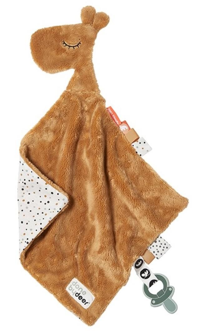 Done by Deer Knuffeldoekje Baby Speendoekje Raffi Giraf Mostergeel Mustard Comfort Blanket - Kraamcadeau Jongen Uni Meisje