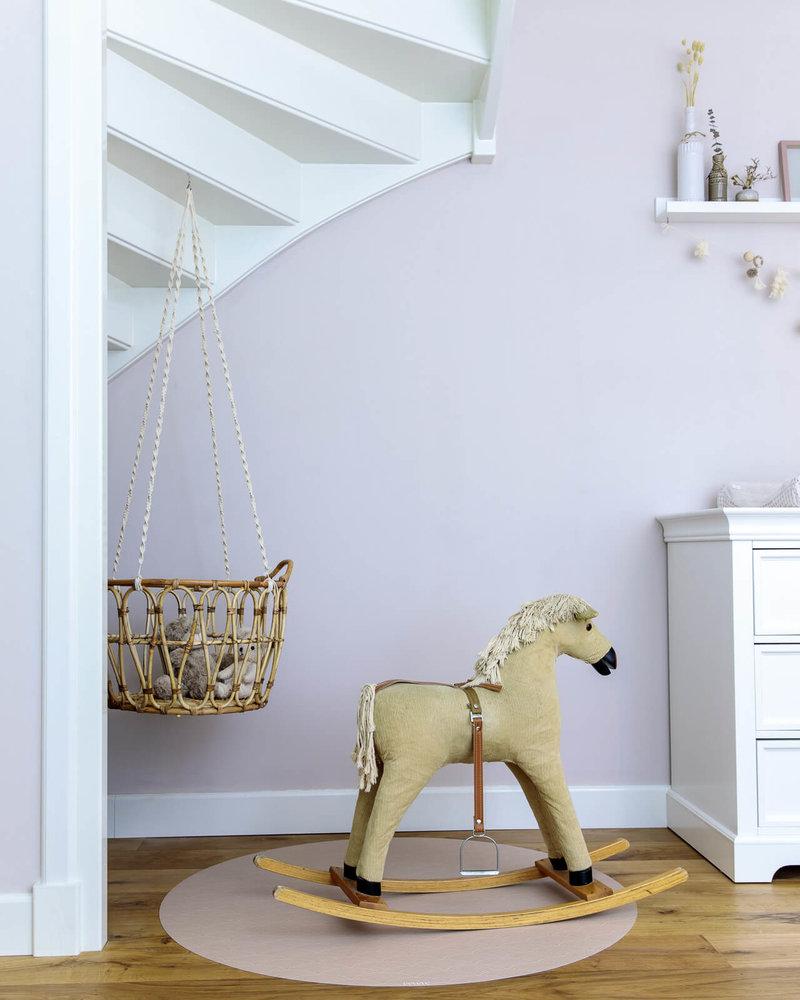 Eeveve Ronde Duurzame Mooie Speelmat Vloermat Vloerkleed Tuinkleed - Kamer Kinderkamer Babykamer - Mokka Bruin Regenboog - 110 cm
