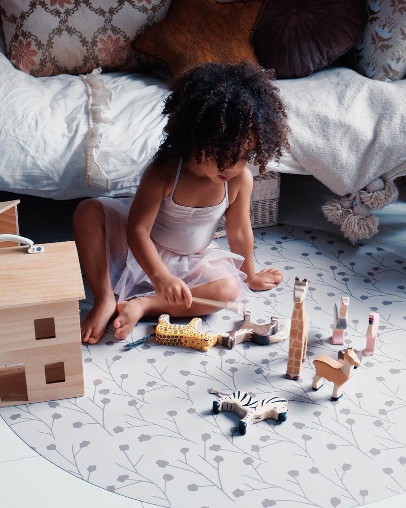 Eeveve Ronde Duurzame Mooie Speelmat Vloermat Vloerkleed Tuinkleed- Kamer Kinderkamer Babykamer - Bloementak Dust - 110 cm