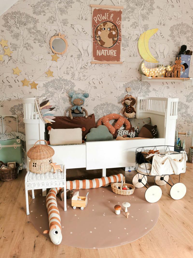 Eeveve Ronde Duurzame Mooie Speelmat Vloermat Vloerkleed Tuinkleed- Kamer Kinderkamer Babykamer - Dots Kaneel - 110 cm