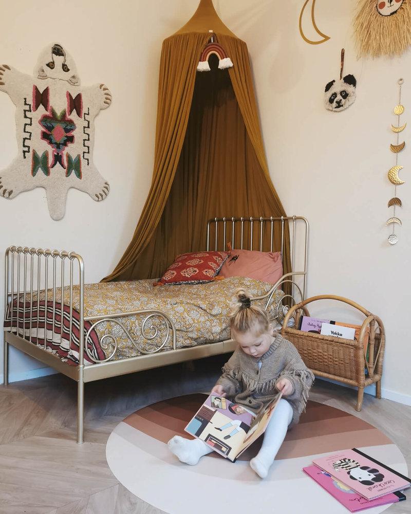 Eeveve Ronde Duurzame Mooie Speelmat Vloermat Vloerkleed Tuinkleed- Kamer Kinderkamer Babykamer - Retrolijnen bruinen - 110 cm