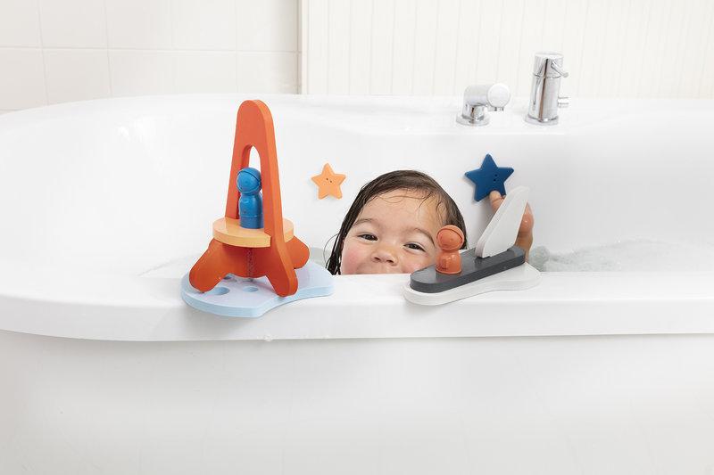 Quut Quutopia Foam Badspeelgoed Badpuzzel Puzzle Friends To The Moon And Back - Ruimtereis Astronaut Raket Space Shuttle - Cadeau Baby Jongen Meisje 1 jaar   2 jaar   3 jaar   4 jaar