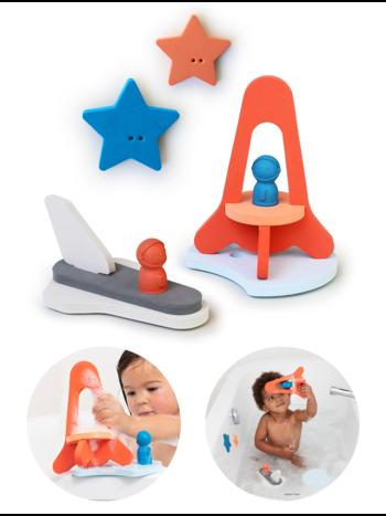 Quut Quutopia Foam Badspeelgoed Badpuzzel Puzzle Friends To The Moon And Back - Ruimtereis Astronaut Raket Space Shuttle - Cadeau Baby Jongen Meisje 1 jaar | 2 jaar | 3 jaar | 4 jaar