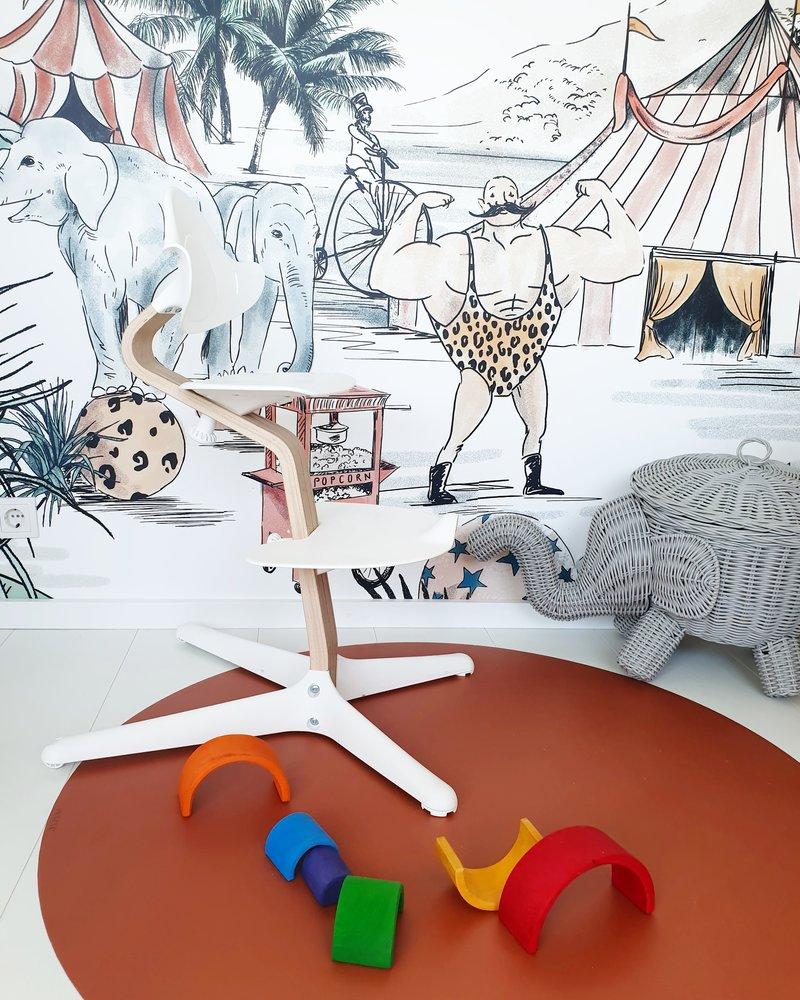 Eeveve Ronde Duurzame Mooie Speelmat Vloermat Vloerkleed Tuinkleed- Kamer Kinderkamer Babykamer - Effen Roest Bruin - 110 cm
