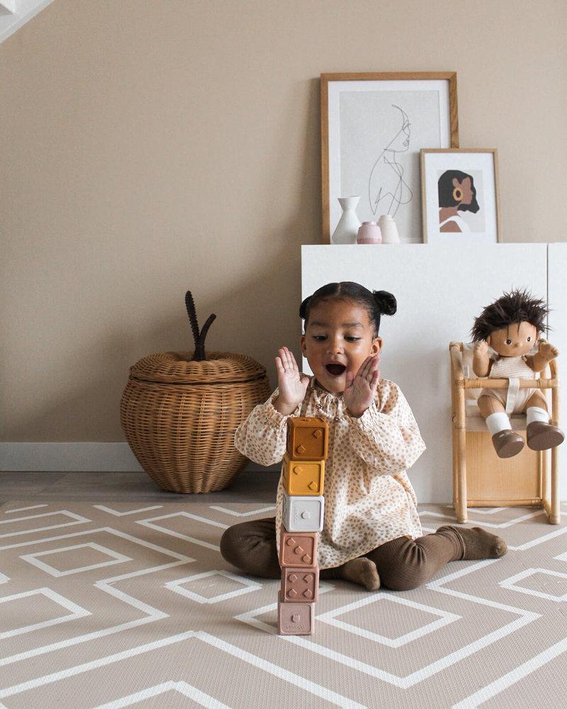 Eeveve Grote Duurzame Mooie Puzzelmat Speelmat Vloermat - Kamer Kinderkamer Babykamer - Modern Blocks - Zand / Desert Sand - 180 x 120 cm