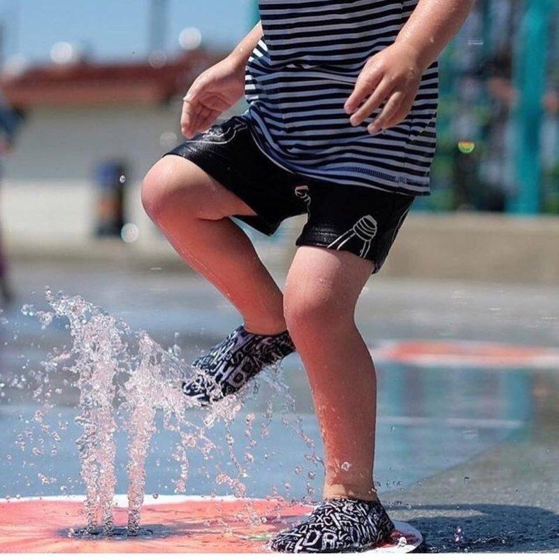 Slipstop Waterschoen Kinderen / Zwemschoen / Zwemslof / Antislip Schoen / Gymschoen - Jongen Meisje Uni - Cayman Kaaiman Krokodil Zwart