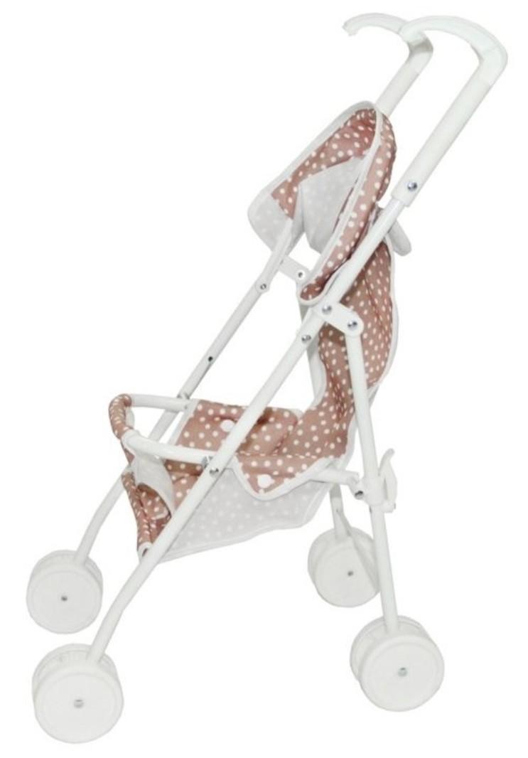 vanPauline Speelgoed Poppenbuggy Poppenwagen Pink Dots - Roze - Vanaf 3 jaar