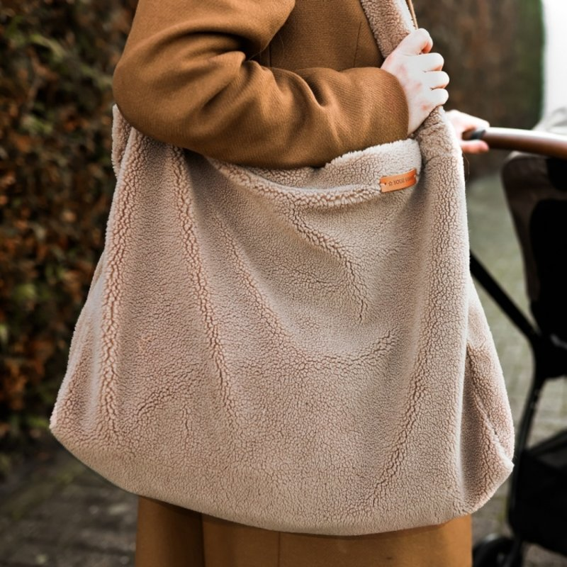 Your Wishes Mommy Tote Bag Grote Luiertas Roestbruin Corduroy Rib  -  Luiertas Kinderwagen / Verzorgingstas Baby / Boodschappentas