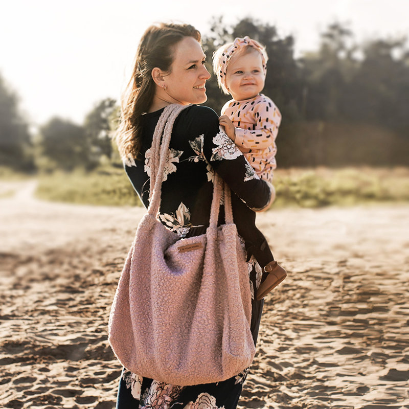 Your Wishes Mommy Tote Bag Grote Luiertas Roestbruin Meisje Jongen Uni - Luiertas Kinderwagen / Verzorgingstas Baby / Boodschappentas - Boucle Warm Bruin