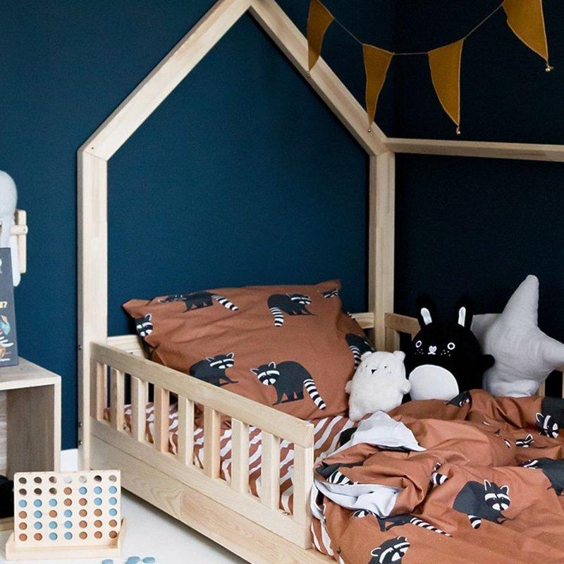 Studio Ditte Wasbeer 1 Persoons Dekbedovertrek Kinderen 140 x 200 - Dieren / Meisje / Jongen - Roestbruin