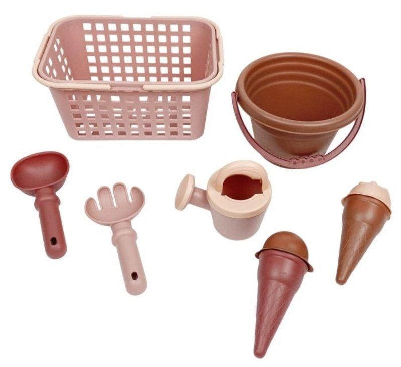 vanPauline Strandsetje Roze - Zandbak Speelgoed / Strandspeelgoed Jongen Meisje - Cadeau 1 jaar | 2 jaar | 3 jaar | 4 jaar | 5 jaar - 7-delig