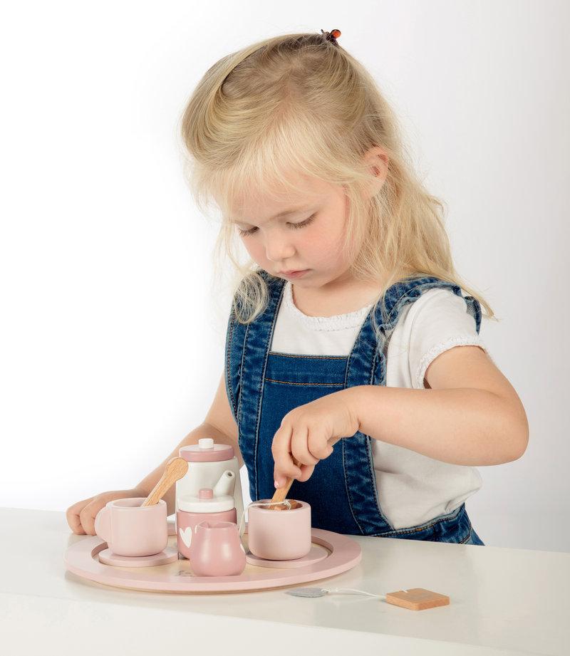 Label Label Houten Kinder Serviesje / Speelservies / Theeset met Koffer - Verjaardag Cadeau meisje 2 jaar / 3 jaar / 4 jaar / 5 jaar / 6 jaar - 9-delig Roze