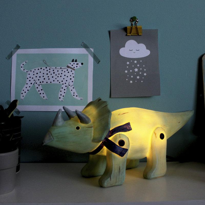 House of Disaster Dinosaurus Triceratops Houtlook Nachtlampje - Kind Kinderkamer