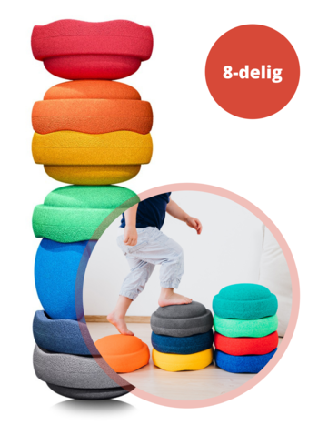 Stapelstein Stapelstenen Rainbow - Duurzaam Buiten en Binnen Speelgoed - 8-delig