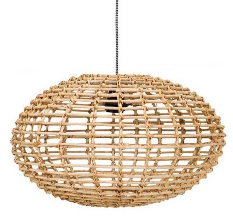 Kidsdepot Hanglamp Pumpkin Rotan Naturel - 45cm  - E27 - Kinderkamer | Woonkamer | Keuken | Gang