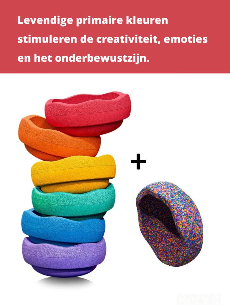 Stapelstein Stapelstenen Bestellen Met Korting Oktober Actie - Rainbow 6-delig + 1 gratis confetti steen