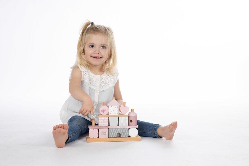 Label Label Houten Stapelblokken Stapeltoren Puzzel Speelgoed - Roze - Baby Peuter- Kraamcadeau Eerste Verjaardag Meisje