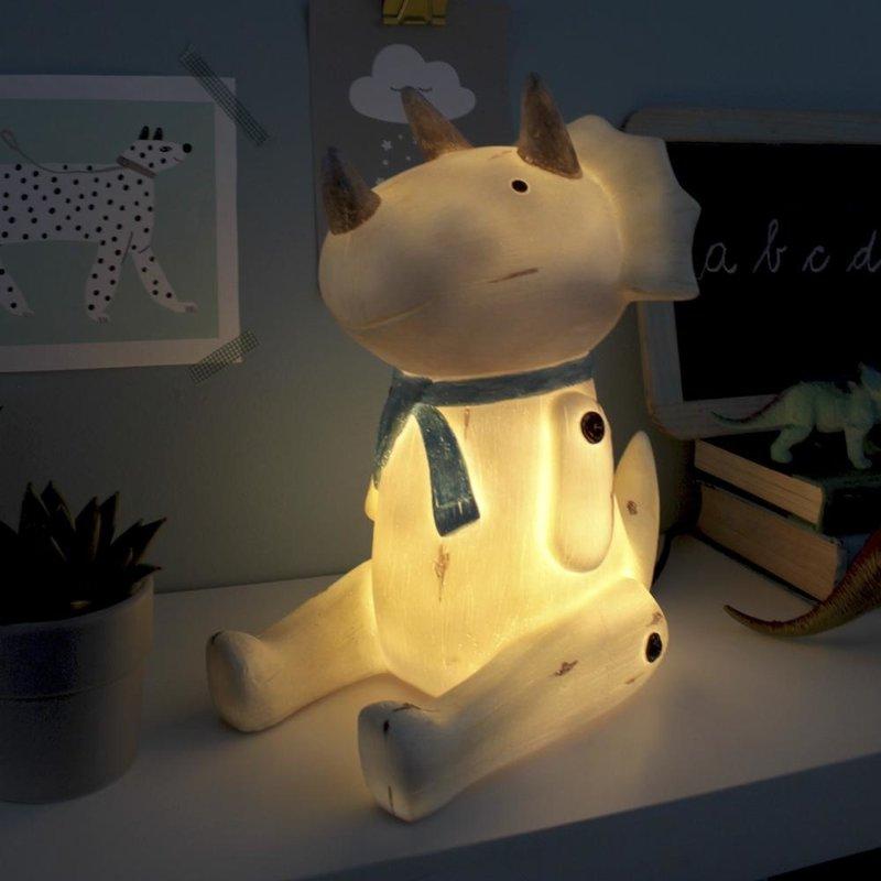 House of Disaster Dinosaurus Triceratops Zittend Houtlook Nachtlampje - Kind Kinderkamer