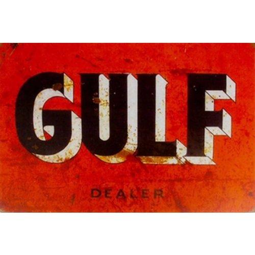Metalen logo gevelbord Gulf Dealer