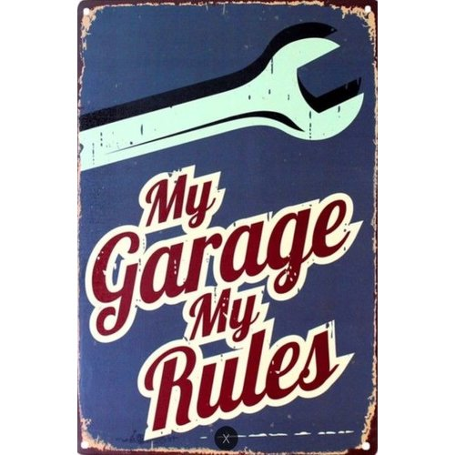 Metalen logo gevelbord My Garage My Rules