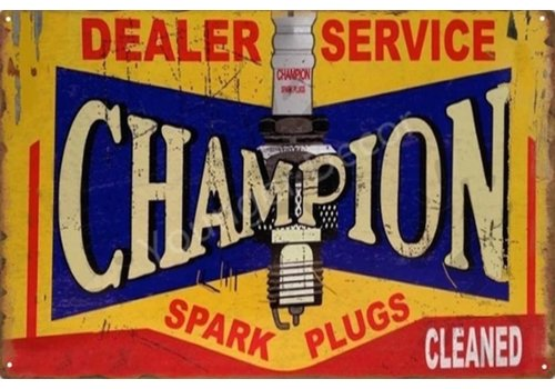Metalen logo gevelbord Champions Spark Plugs Cleaned