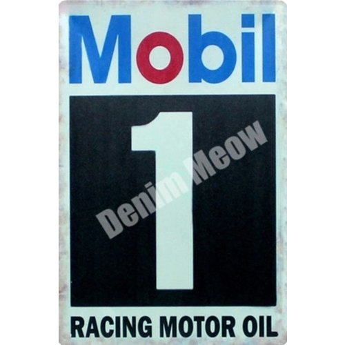 Metalen logo gevelbord Mobil Racing Oil