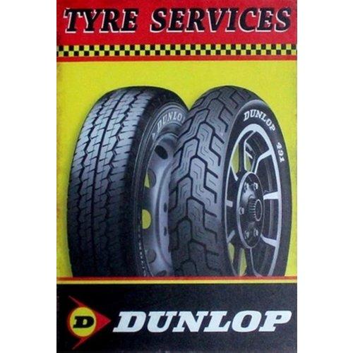 Metalen logo gevelbord Dunlop Tyre Services