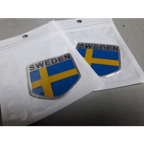 Embleem Zweedse vlag 3D aluminium 392000 NIEUW Volvo