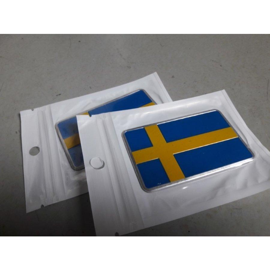 Embleem Zweedse vlag 3D aluminium 391000 NIEUW Volvo