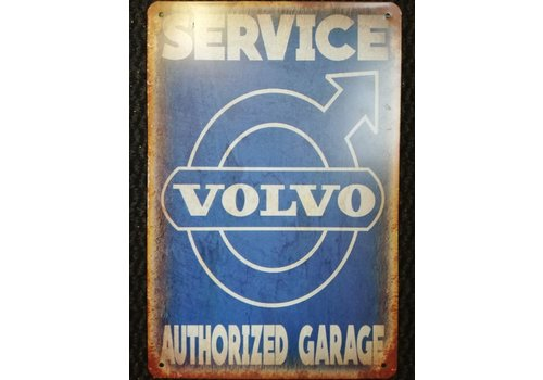 Metal logo sign plate Service Volvo authorized garage