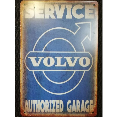 Metalen logo gevelbord reclamebord Service Volvo authorized garage