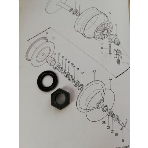 Washer and nut (16 + 17) with grommet diaphragm CVT transmission primary 6629799-5 / 3103818-5 used Volvo 343, 345, 340