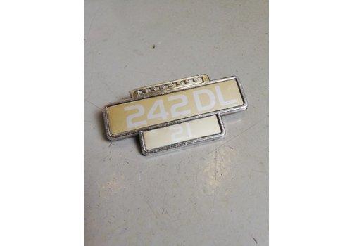 Embleem voorscherm zijschild '242DL, 2.1' gebruikt Volvo 242