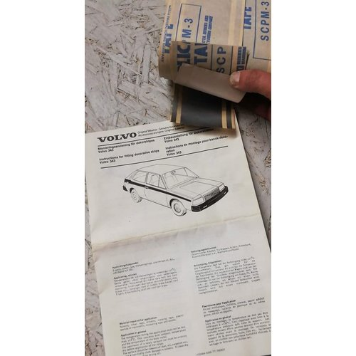Striping kit left and right side grey/metalic 284515-4 NOS Volvo 343, 345