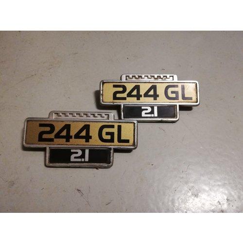Embleem voorscherm zijschild '244GL, 2.1' gebruikt Volvo 244