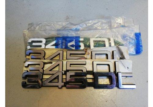 Belettering embleem achterzijde kofferbak '343DL' 3282443-5 NOS Volvo 345