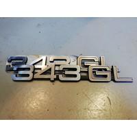 Belettering embleem achterzijde kofferbak '343GL' 3282078-9 NOS Volvo 343
