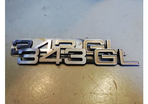 Lettering emblem on the rear of the trunk '343GL' 3282078-9 NOS Volvo 343