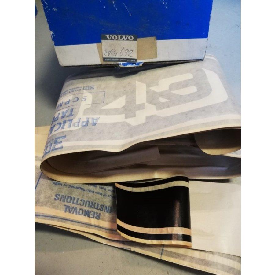 Striping kit achterspatbord RH zwart 284632 NOS Volvo 343, 345, 340, 360