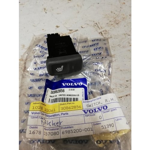 Seat heating switch RH 30862856 NEW Volvo S40, V40