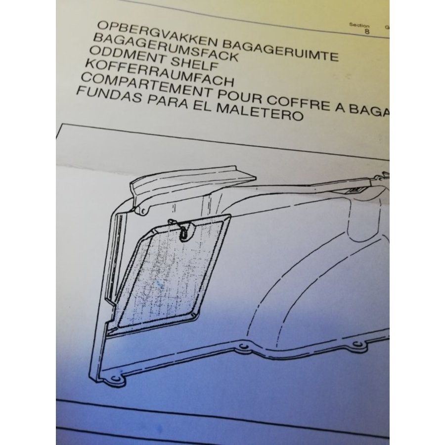 Bagageklep afsluitdeksel kofferbak bagageruimte LH 3463761 NOS Volvo 440